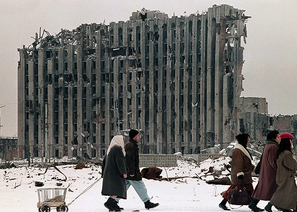 Chechnya's Destroyed Presidential Palace in Grozny.