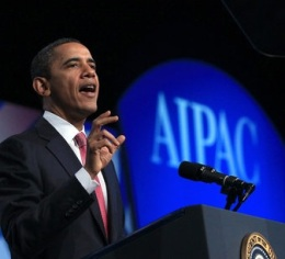 Obama giving a speech at an AIPAC conference in 2012 (Mills/NY TImes)