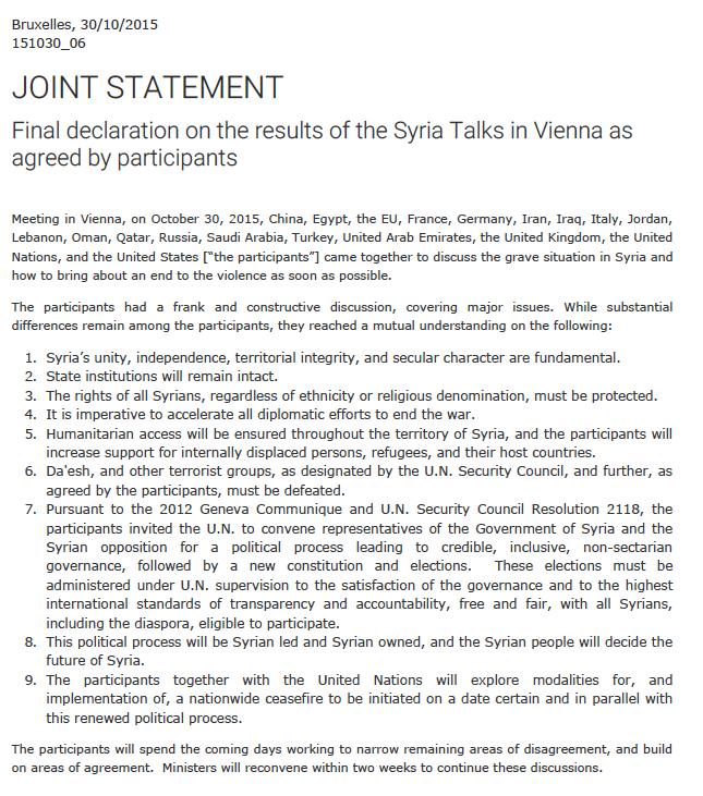 Vienna Talks Syria Communiqué