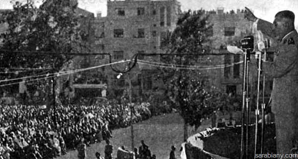 1953: President Shishakli delivering a live radio broadcast at a public rally in Damascus